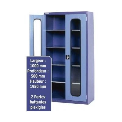 Armoire métallique haute portes battantes avec plexiglas