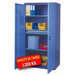 Armoire métallique haute portes battantes 1 tiroir 3 tablettes