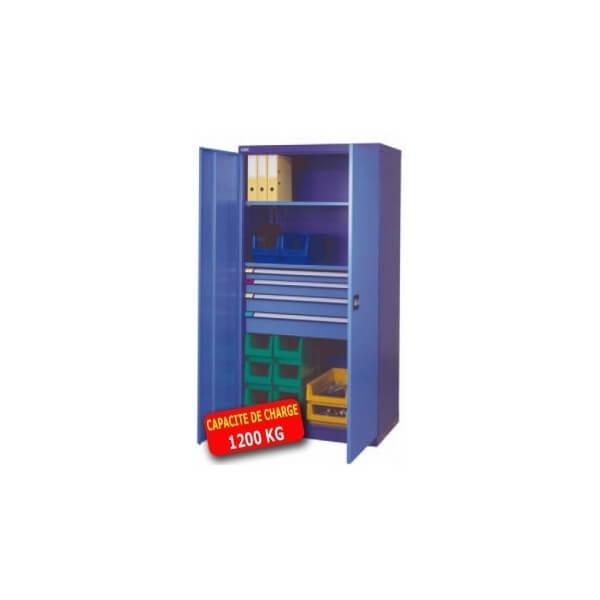 armoire m tallique haute portes battantes 4 tiroirs 2. Black Bedroom Furniture Sets. Home Design Ideas