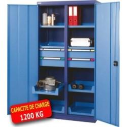Armoire métallique haute portes battantes 1 tiroir 4 tablettes