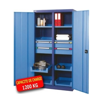 armoire m tallique haute portes battantes 1 tiroir 4 tablettes. Black Bedroom Furniture Sets. Home Design Ideas