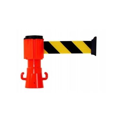 Dérouleur à sangle pour balise jaune noir 3 m x 5 cm