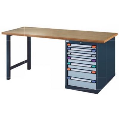 Etablis 5 tiroirs plateau bois pied en acier bleu