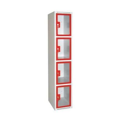Vestiaire transparent plexi scolaire 4 cases 1 colonne