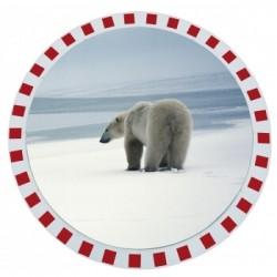 Miroir antigivre/antibuée avec cadre rouge et blanc Vialux 846 AB Ø600 mm