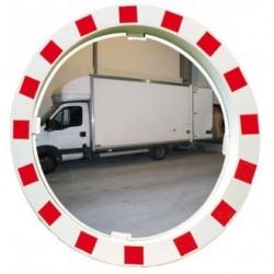 Miroir rond traitement anti-UV avec cadre rouge et blanc diamètre 600 mm