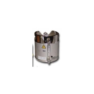 Fût de sécurité en acier inoxydable avec vanne de vidange en partie basse et niveau