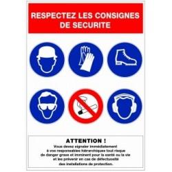 Panneau respect de consigne de sécurité