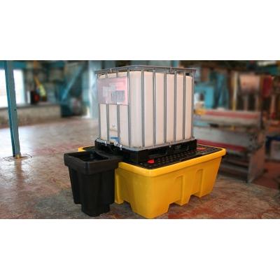 1 Conteneur GRV IBC Avec caillebotis bac Jaune 1260 litres