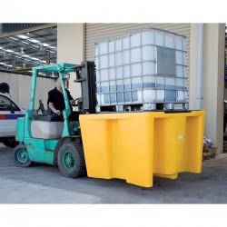 Palette de rétention 1100L avec caillebotis pour conteneur GRV IBC