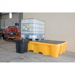 Palette de rétention 1100L avec caillebotis pour 2 conteneurs GRV IBC SJ-500-003