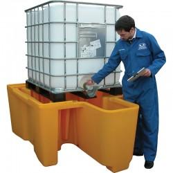 1 Conteneur GRV IBC avec soutirage Sans caillebotis bac Jaune 1100 litres