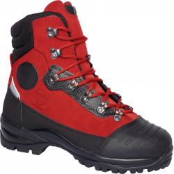 Chaussures bucherons très ferme avec embout en acier rouge