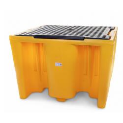Bac de rétention 1100L avec caillebotis pour conteneur GRV IBC