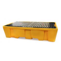 Bac de rétention 1100L avec caillebotis pour 2 conteneurs GRV IBC