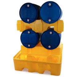 Support gerbable de 2 futs 200 litres bac Jaune