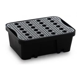 Plateau rétention avec caillebotis Noir bac 10 litres