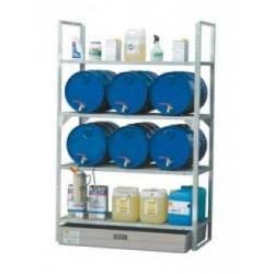 Support 6 fûts 60 litres et petits récipients sur rétention