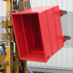 Benne pour chariot elevateur tete rotative sur socle peinte